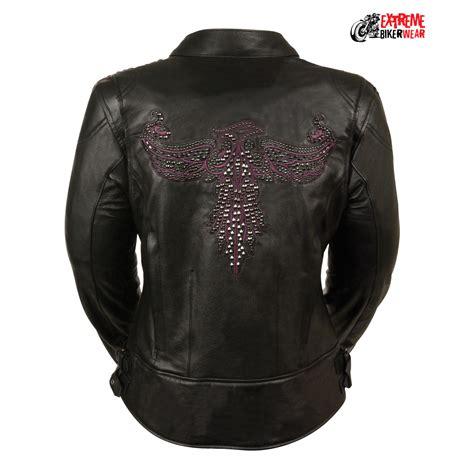 leather apparel ladies black purple racer jacket w pheonix studding