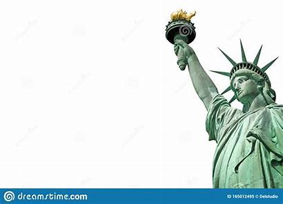Liberty Statue Close York Space Isolated Copy
