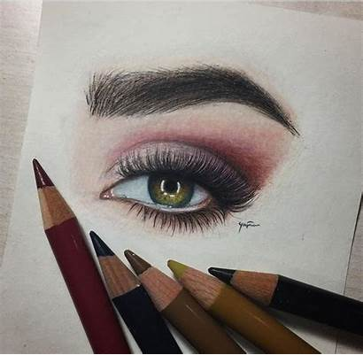 Makeup Pencil Eye Drawings Realistic Cool Marker