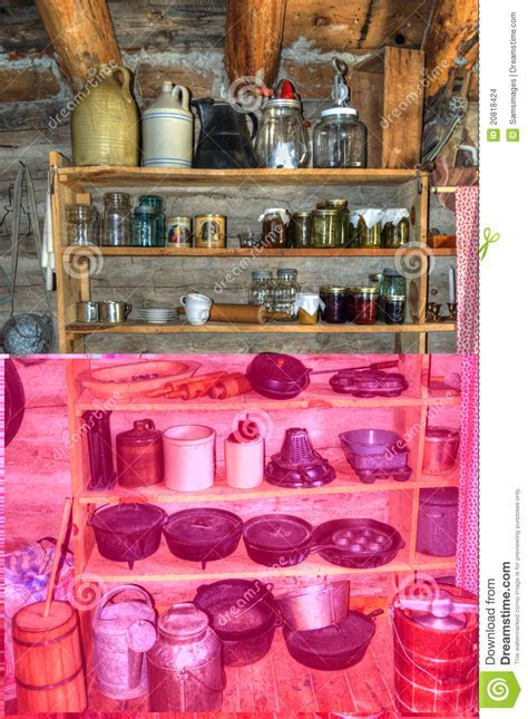 Rustic Old Time Log Cabin Pantry Stock Photo   Image: 20818424