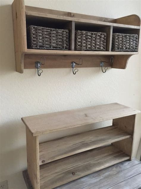 rustic hall tree primitive bench  coat rack entry