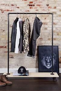 Portant Vetement En Bois : portant v tement avec tag re en bois rackbuddy jessie ~ Melissatoandfro.com Idées de Décoration