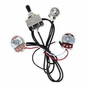 Electric Guitar Wiring Harness Kit 3 Way Toggle Switch 1 Volume 1 Tone 500k Pots 634458579117