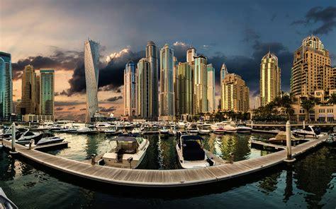 United Arab Emirates Dubai Marina Sunset City Landscape