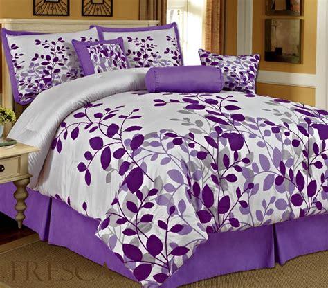 amazon com bednlinens 7 piece queen fresca purple leaves bedding comforter set home kitchen