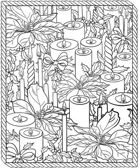 Christmas Candles Coloring Page For Adults See the