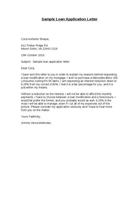 loan application letter sample  printable documents