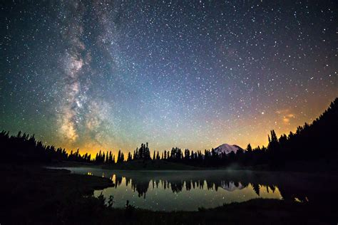 space star night milky  mountain forest hd wallpaper
