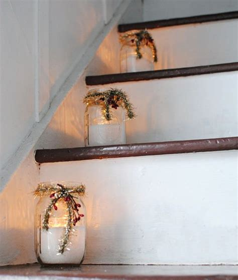 christmas mason jar stairs decorations