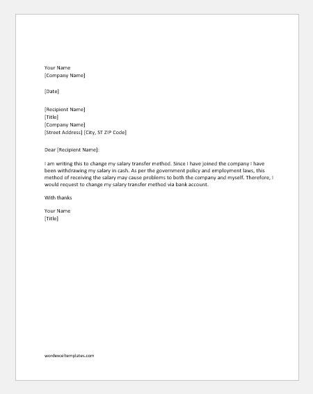 Business bank account change letter. Request Letter to Change Salary Transfer Method via Bank ...