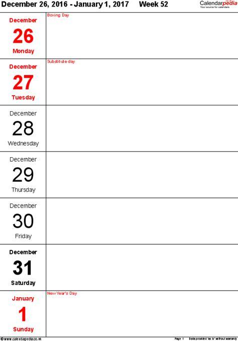 10 day calendar template weekly calendar 2017 uk free printable templates for pdf