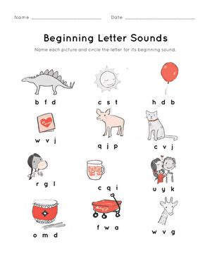 beginning letter sounds worksheet education