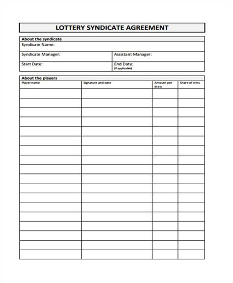 lottery syndicate form template
