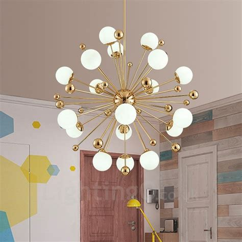 light modern contemporary ceiling lights copper plating chandelier  white ball glass