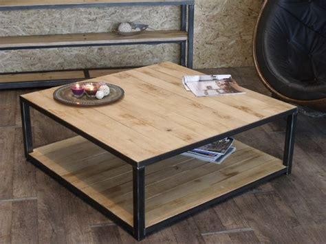 table basse bois metal avec rangement idee pour votre