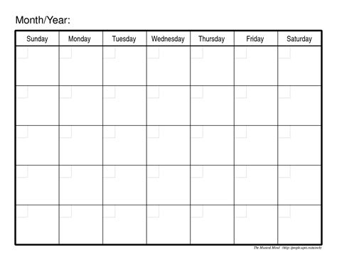 Calendar Template Docs Printable Blank Monthly Calendar Templates Docs