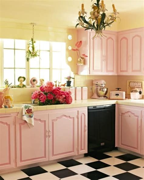 Beautiful Pink Kitchen With Black & White Checkered