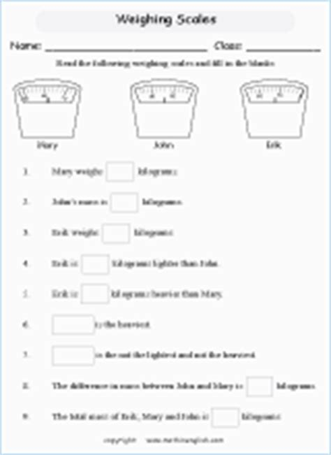 reading scales printable grade  math worksheet