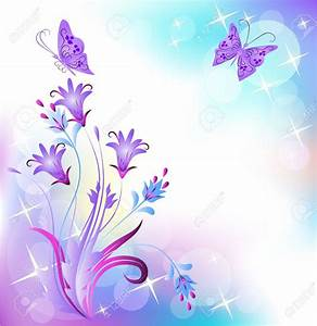 Purple Flower clipart butterfly background - Pencil and in