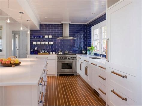 Mediterranean Kitchen Cabinets, Blue Glass Backsplash