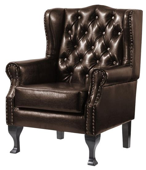 High Back Leather by Dorchester Buttoned Faux Leather High Back Wing Chair Brown