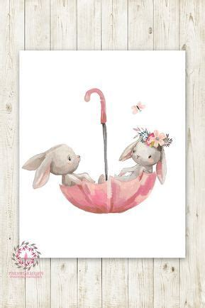 umbrella bunnies bunny rabbit wall art print boho girl