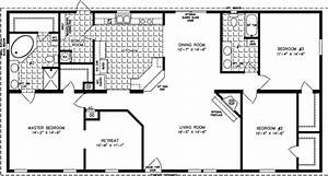 The tnr 46017w manufactured home floor plan jacobsen for Barn style house plans under 1200 sq ft
