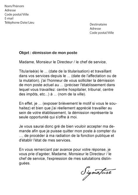 modèle lettre de démission contractuel fonction publique covering letter exle january 2016