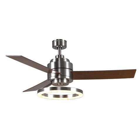 lowes ceiling fans with led lights shop harbor breeze pier 39 52 in brushed nickel downrod