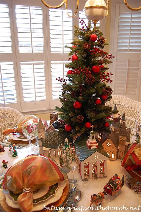 christmas tree table decoration christmas setting with dept 56 churches 5039