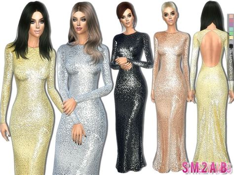 The Sims Resource: 237 - Sequin long dress by sims2fanbg ...