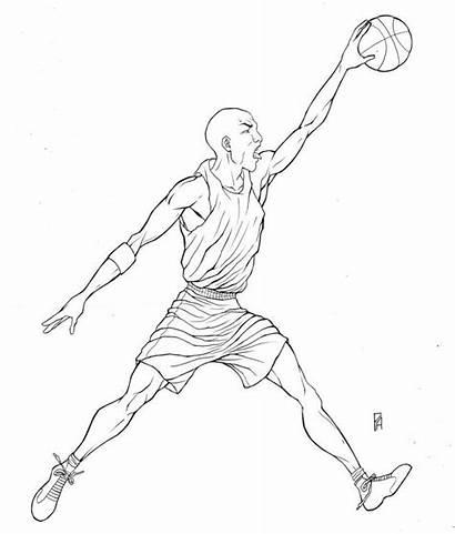 Jordan Coloring Michael Draw Dunking Drawing Sheets
