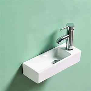 Lave Main Ceramique : lave main gain de place 38x15 cm c ramique minimalist ~ Edinachiropracticcenter.com Idées de Décoration