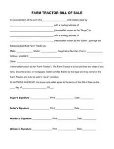 Free Printable Bill of Sale Form Tractor