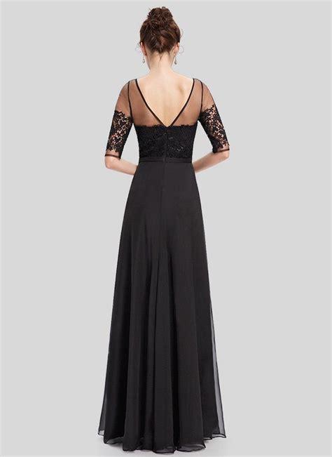 Black Lace Organza Chiffon Maxi Dress with V Back ...