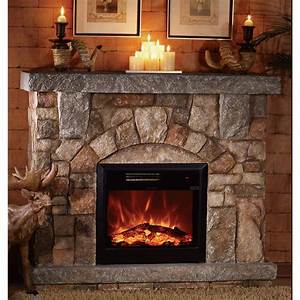 Product: Unifire Polystone Electric Fireplace with Mantel