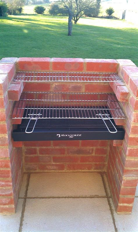 black knight deluxe brick barbecue kit  stainless steel grill  warming rack