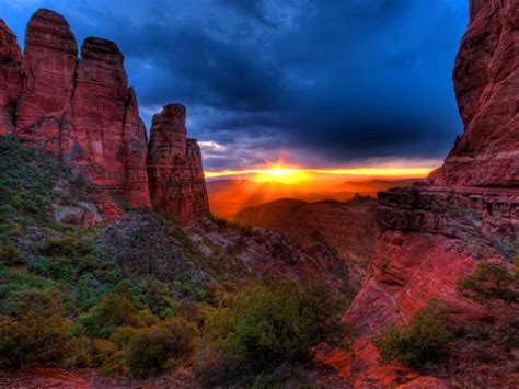 Sunset Cathedral Rock Sedona Arizona Desktop Hd Wallpaper