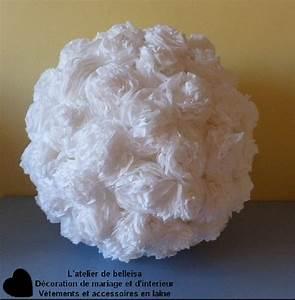 Boule En Papier : boule de fleur en papier cr pon blanche en d corations l atelier de belleisa ~ Teatrodelosmanantiales.com Idées de Décoration