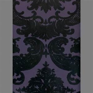 Black & Purple Madison Damask Velvet Flocked Wallpaper ...