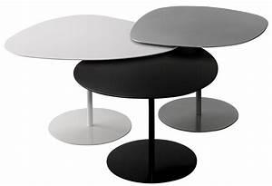 Table Basse Forme Galet : tables gigognes 3 galets set de 3 noir blanc gris mati re grise made in design ~ Teatrodelosmanantiales.com Idées de Décoration