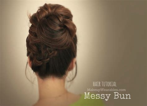 hair tutorial big messy bun with braids video everyday