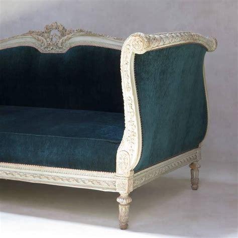 Teal Settee by Louis Xvi Style Teal Velvet Upholstered Settee
