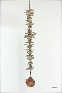 Suspension Bois Flotté : guirlande bois flott suspension bois perles coquillage deco tons marrons orang s port s ~ Teatrodelosmanantiales.com Idées de Décoration