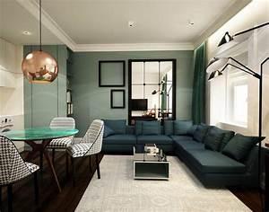 Canape Vert Emeraude : am nagement salon salle manger r ussir la s paration des deux zones ~ Teatrodelosmanantiales.com Idées de Décoration