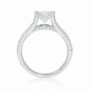 44ct floating diamond 18k white gold split shank With floating diamond wedding ring