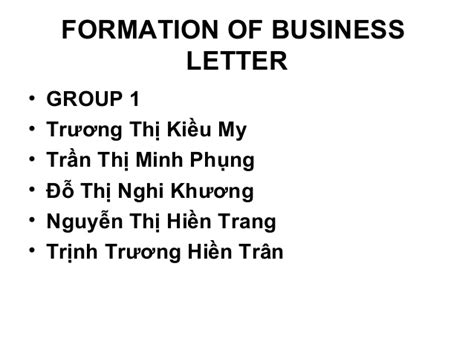 formation  business letter