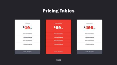 powerpoint pricing table  templates