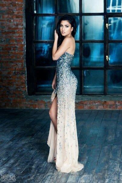 blue  white ombre sparkle evening dress couture