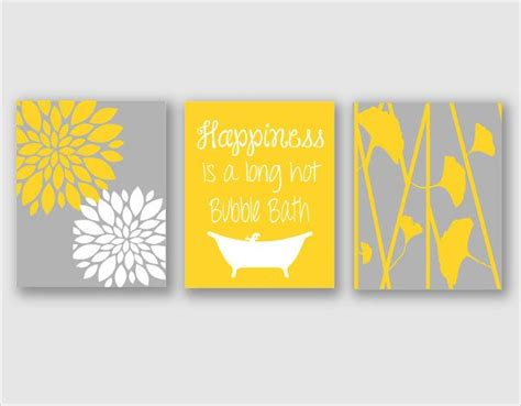 Yellow And Gray Bathroom Accessories by Modern Bath Art Modern Floral Flower Artwork Set Of 3